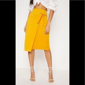 Orange Eyelet Detail Wrap Pencil Skirt